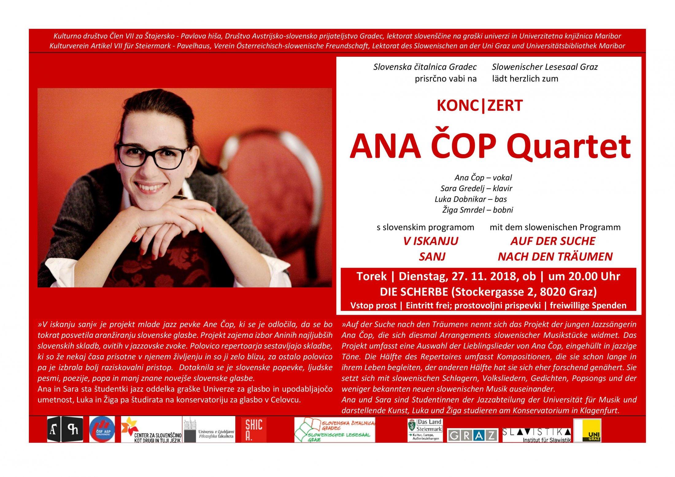 Ana Cop Quartet, Graz (die Scherbe), Plakat