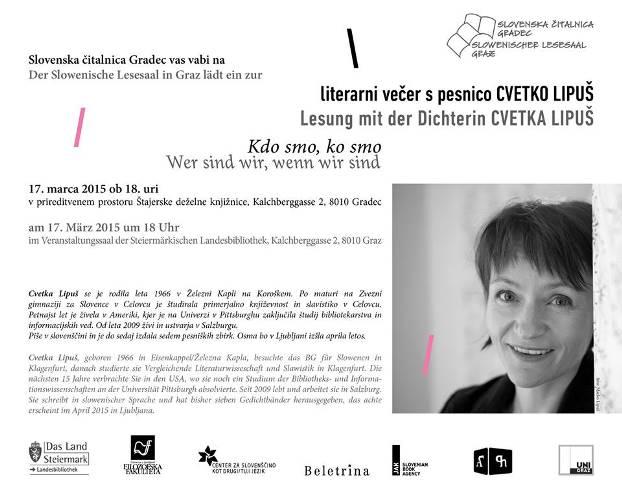 17. marec 2015   Literarni večer s Cvetko Lipuš