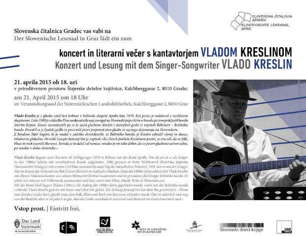 21. april 2015   Večer s kantavtorjem Vladom Kreslinom