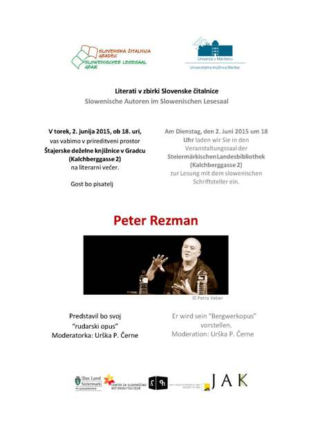 2. junij 2015   Literarni večer s Petrom Rezmanom