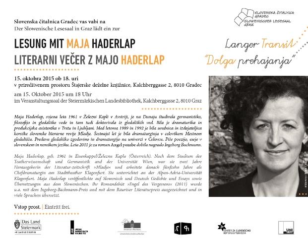 15. oktober 2015 | Literarni večer z Majo Haderlap