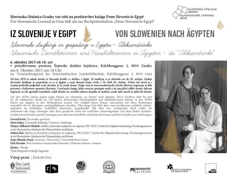 6. oktober 2015   Predstavitev knjige From Slovenia to Egypt