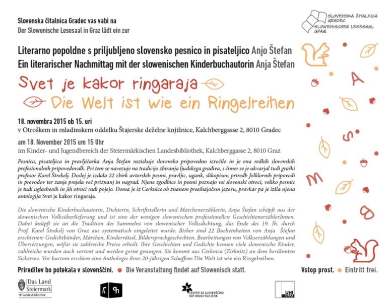 18. november 2015   Svet je kakor ringaraja – literarno popoldne z Anjo Štefan