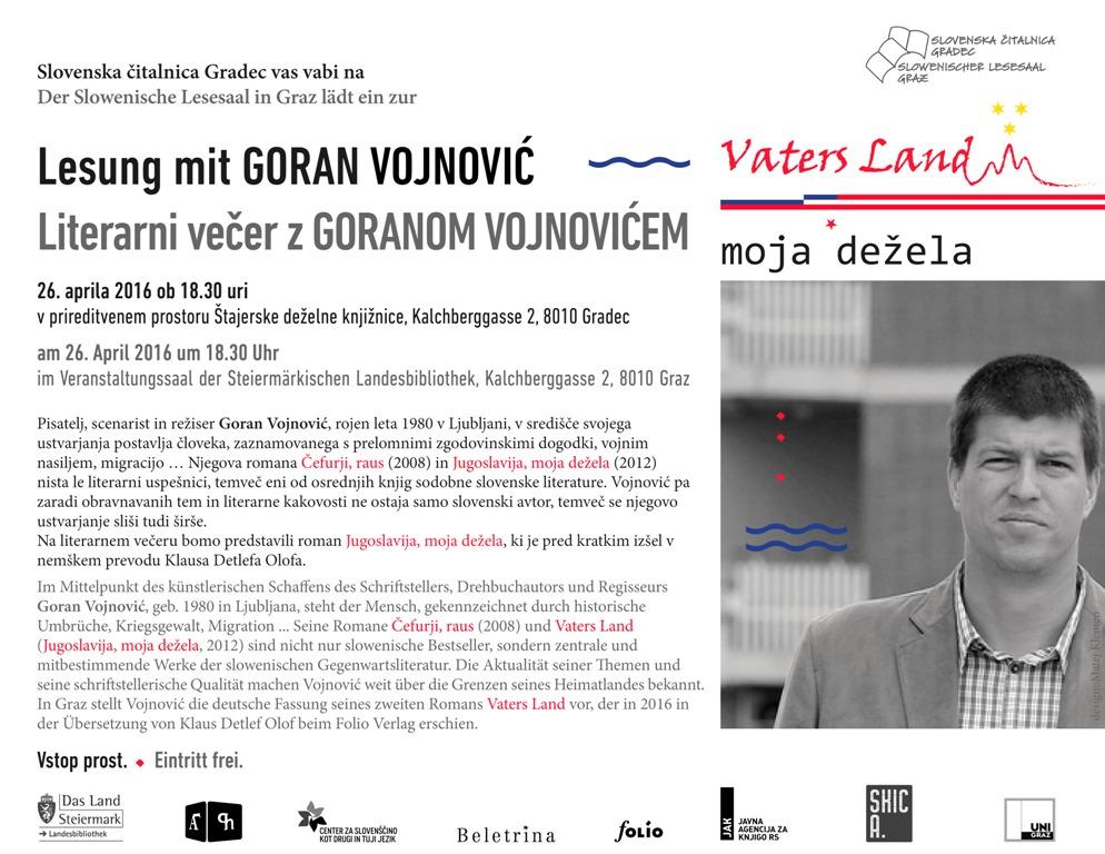 26. april 2016 | Literarni večer z Goranom Vojnovićem