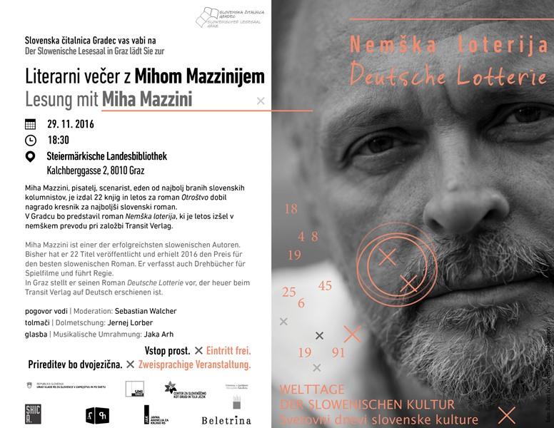 29. november 2016 | Literani večer z Mihom Mazzinijem