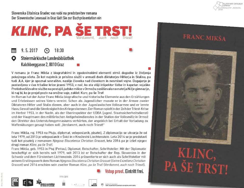 9. maj 2017 | 'Klinc, pa še Trst!' – Literarni večer s Francem Mikšo