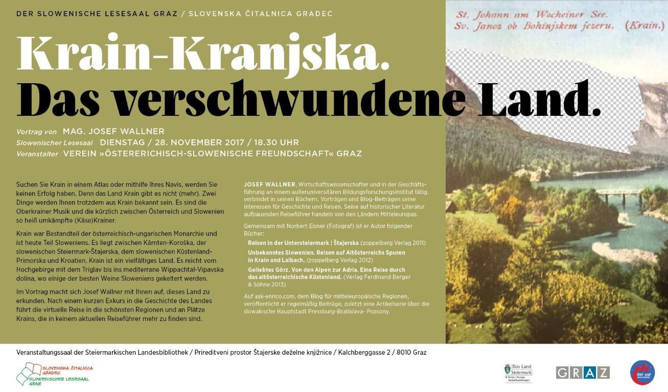 28. November 2017 | Josef Wallner: Krain|Kranjska – das verschwundene Land