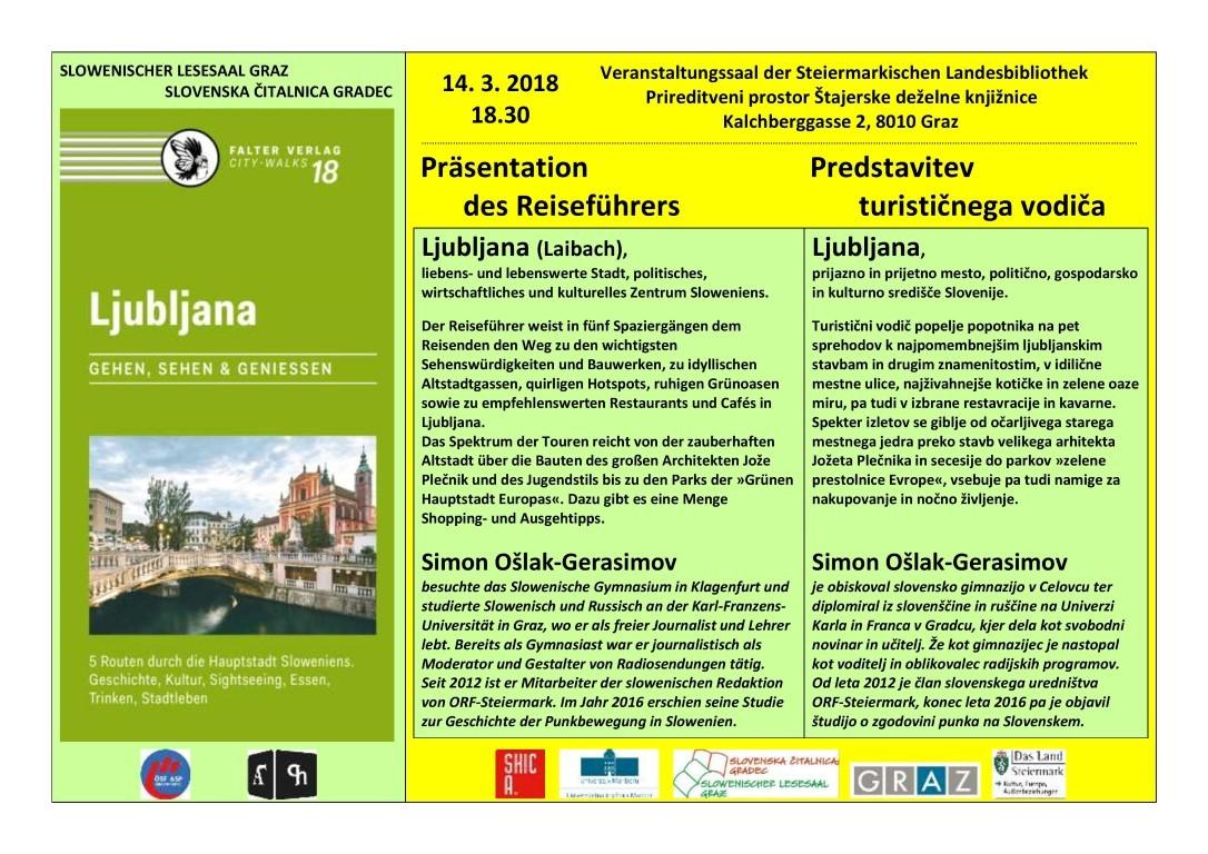 14. marec 2018 | Simon Ošlak-Gerasimov – Ljubljana (predstavitev turističnega vodiča)