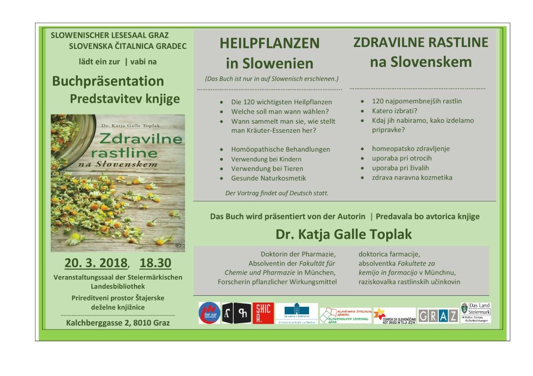 20. marec 2018 | predstavitev knjige Zdravilne rastline na Slovenskem