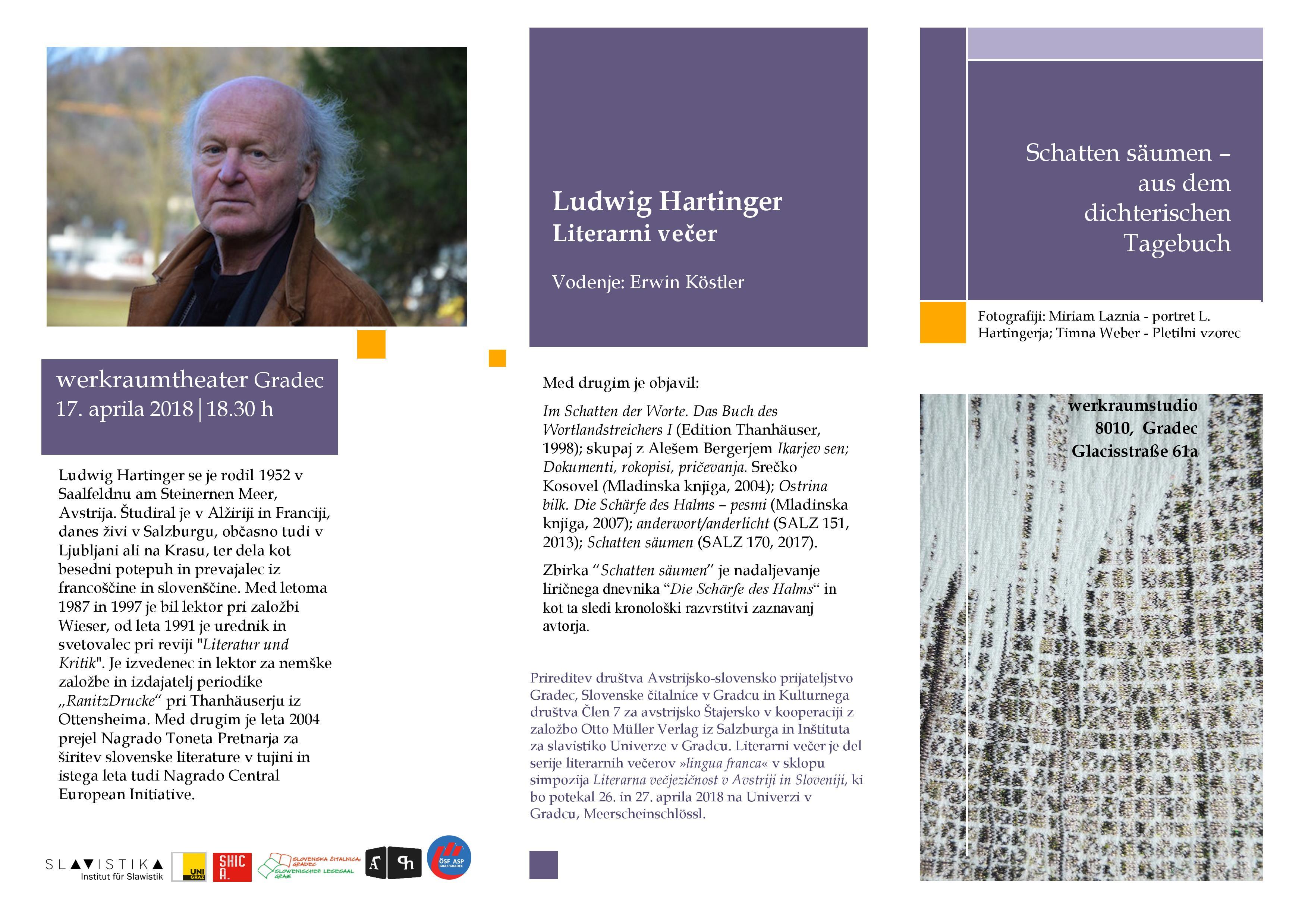 17. april 2018 | literarni večer z Ludwigom Hartingerjem